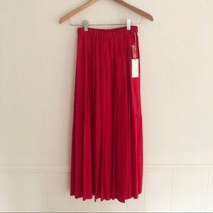 Marisa Christina A-Line Pleated Red Skirt Medium